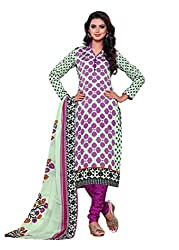 SayShopp Fashion Women's Unstitched Regular Wear Cotton Printed Salwar Suit Dress Material (ZDM-28_Purple_Free Size)