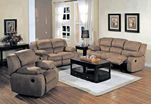 Belmont Saddle Microfiber 3 Pc Reclining Living Room Set Kitchen