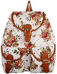 Yonger Rose Flower Rucksack Retro Satchel Bookbags For Girls School Backpack Woman
