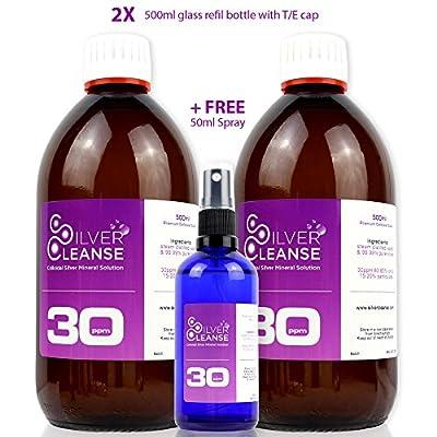 SilverCleanse Colloidal Silver 30ppm Double Pack (2x 500ml Glass Bottles & T/E Cap) + FREE FULL 50ml Spray