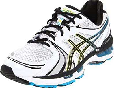 ASICS Men's GEL-Kayano 18 Running Shoe,White/Black/Hot Blue,6 M US