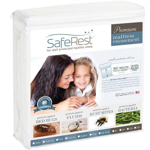 King Size SafeRest Premium Waterproof Lab Certified Bed Bug Proof Zippered Mattress Encasement