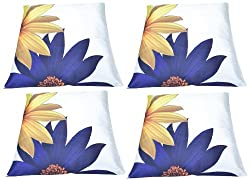 meSleep Painted Sun Flower 4 Piece Cushion Cover Set - White and Blue