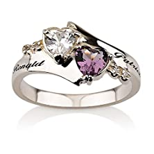 buy Promise Ring Engraved Ring Sterling Silver Birthstone Ring Heart Ring With Swarovski Stones Couples Ring Split Band Ring (7)