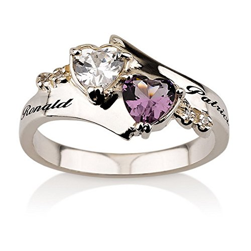 Promise Ring Engraved Ring Sterling Silver Birthstone Ring Heart Ring With Swarovski Stones Couples Ring Split Band Ring (6)