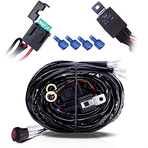 MICTUNING Heady Duty 2 Lead 14 ft LED Light Bar 300 Watt Wiring Harness Off Road SUV/Jeep - 40 Amp Relay ON/OFF ILLUMINATE ROCKER SWITCH (Led Off Road Wire Harness compare prices)