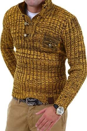 Tazzio Strickpullover mit Knopfleiste Pullover 3560 [Gelb, S]