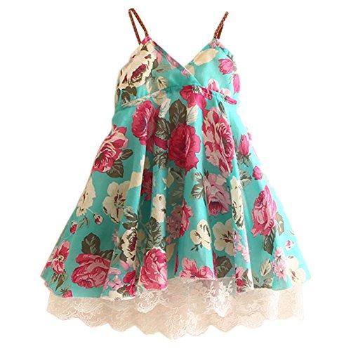 LittleSpring Little Girls' Dress Sleeveless Flower Lace Size 5 Green