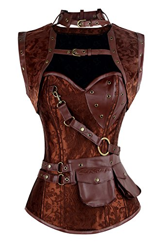 Charmian Women's Retro Goth Spiral Steel Boned Brocade Steampunk Bustiers Corset with Jacket and Belt Brown Large