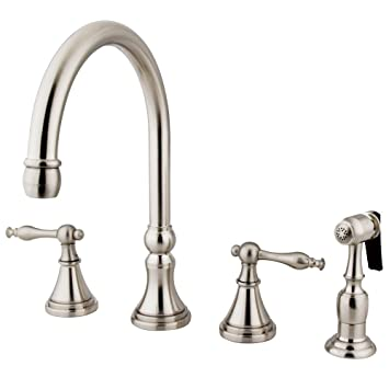 Kingston Brass KS2798NLBS Naples Deck Mount Kitchen Faucet with Brass Sprayer, 8-1/4-Inch, Satin Nickel