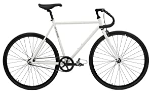 Critical Cycles Classic Fixed-Gear Single-Speed Bike with Pista Drop Bars, White, 53cm/Medium
