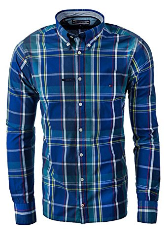 TOMMY HILFIGER CUSTOM FIT Camicia Uomo maniche Lunghe colore NAVY (XL, NAVY MONTANA)