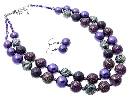 NECKLACE AND EARRING SET METAL LUCITE BEAD PURPLE Fashion Jewelry Costume Jewelry fashion accessory Beautiful Charms