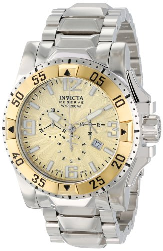 Invicta Men's 10895 Excursion Reserve Chronograph Gold Tone Textured Dial Stainless Steel Watch