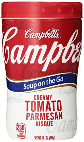 Campbell's Creamy Tomato Parmesan Bisque Soup on the Go, 11.10oz Microwavable Cups (Pack of 8)