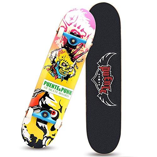 [Skateboard 31 inch, GFtime Pro Complete Skateboard with Skateboard Bag Skull Punk] (Zombie Skate Punk Costumes)
