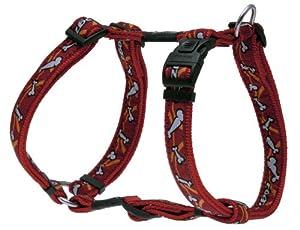Rogz Fancy Dress Large 3/4-Inch Beachbum Adjustable Dog H-Harness, Bones on Red Design