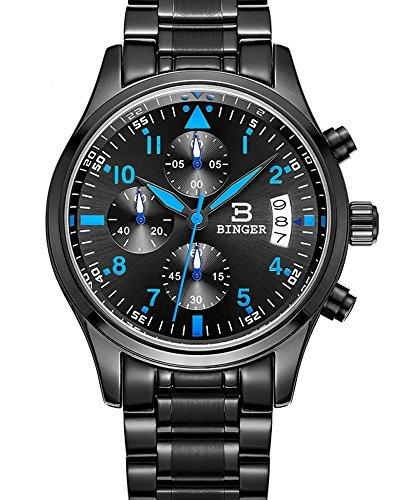 Binger Sport Herren-Quarz-Uhr mit schwarzem Zifferblatt Chronograph Display und Edelstahl-Armband (blau)