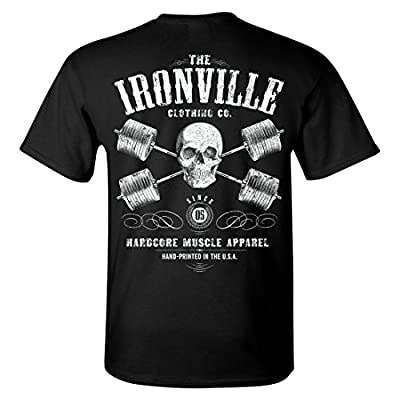 Ironville Heavy Iron Outlaw Skull Barbells Powerlifting T-Shirt