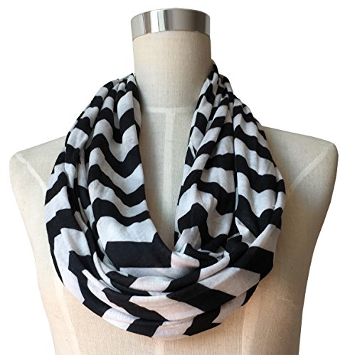 womens-chevron-patterned-infinity-scarf-with-zipper-pocket-black
