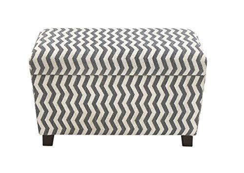 Benzara The Must-Have Wood Fabric Strong Ottoman, Black/White, Set of 2 - 1