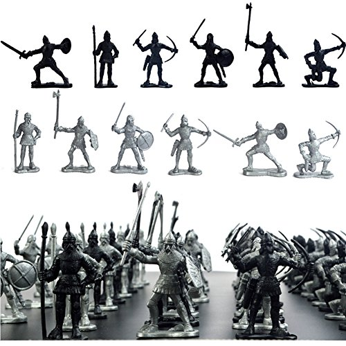 120 Pieces Archaic Soldiers of the Middle Ages Viking Soldier Figures Toys Static Model Playset