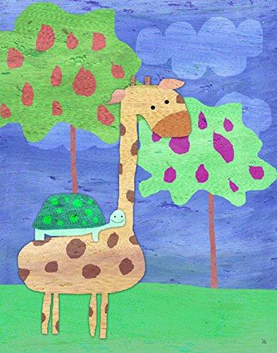 Green Leaf Art Giraffe and Turtle Canvas Art