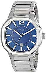 Akribos XXIV Mens AK712BU Quartz Movement Watch with Blue Dial and Stainless Steel Bracelet
