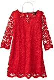 My Michelle Big Girls Allover Lace Dress, Red, 10