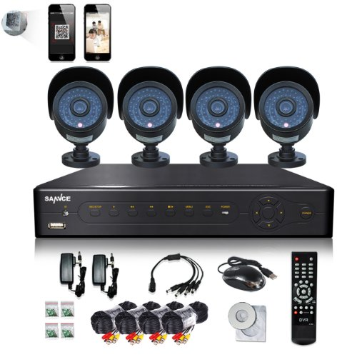 Sannce 4-Channel 960H Security Dvr/ Hdmi/ Usb/ Bnc Output Surveillance System With 4 High-Resolution 800Tvl 42 Ir Cut Night Vision Leds Cameras And 500Gb Hard Drive (Black)