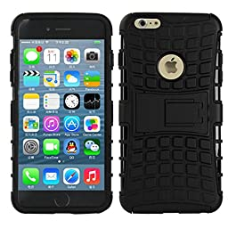 [For iPhone 6Plus 6sPlus]Rugged Holster Heavy Duty Armor Shield 2-in-1 Hybrid Dual Layer Kickstand Case Cover Skin by Arcraft(TM)