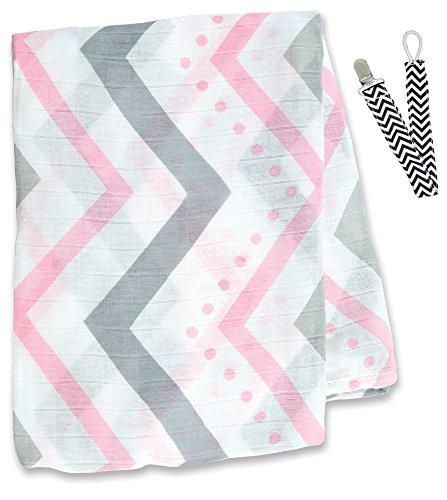 """Lulujo LJ105 Pink Chevron Bamboo Muslin Swaddling Blanket 47""""x47"""" with Pacifier Clipp - 1"""