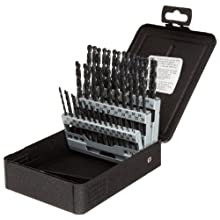 Precision Twist C60R18 High Speed Steel Jobber Length Drill Bit Set with Metal Case, Black Oxide Finish, 118 Degree Conventional Point, Wire Size, 60 piece, #60 to #1