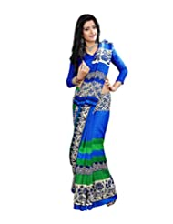 Anu Designer Self Print Saree (6405A_Multi-Coloured)