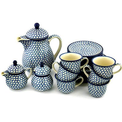 Polmedia Polish Pottery 51 oz Stoneware Tea or Coffee Set for Six H1735B Hand Painted from Ceramika Artystyczna in Boleslawiec Poland. Shape S535B(330) Pattern P1584A(74X)
