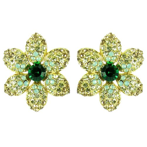 Green On Gold Plated Heirloom Movie Star Flower Earrings front-1053883