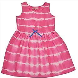 CrayonFlakes Kids Wear for Girls 100% Cotton Sleeveless Tie & Dye Frock Dress