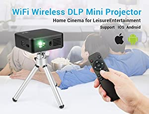 Lightwish Black WiFi DLP Mini Wireless Projector Home Cinema with Remote Controller+Mini Tripod+Packing Case for Apple iPhone 6 6plus 5s Android iOS