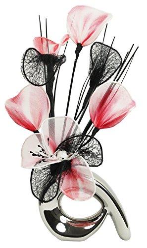 Flourish 792879 32 Cm Mini Motif Vase Et Bouquet De Fleurs Artificielles Rouge Blanc Noir Les