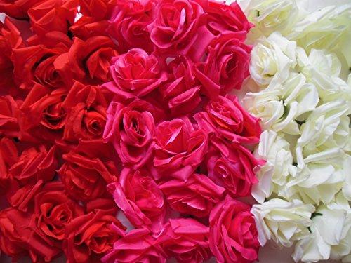 バラ 造花 直径 8センチ 花部分のみ 3色 50個 セット (セットA)
