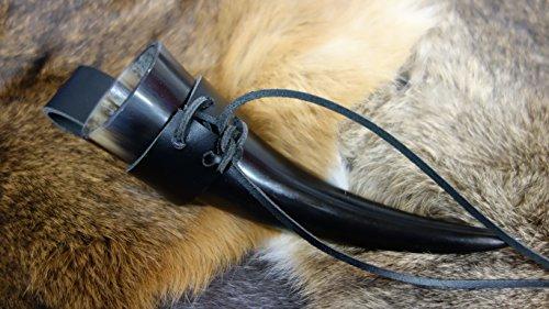 Drinking Horn 10-90 ml circa, con attacco per cintura, realizzata in pelle, 0, 01-0,09 litri