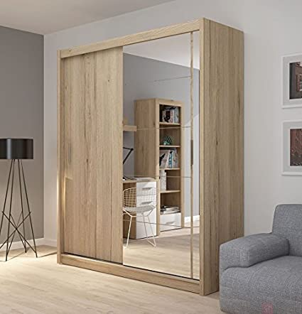 FADO large mirrored 2 door wardrobe closet in sanremo oak wood effect with sliding doors mirror shelves hanging clothes rail bedroom hallway furniture