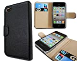 Wallet Leather Case Credit ID Card slot Holder Cover Pouch For iPhone 4 4S Black