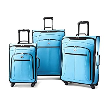American Tourister Luggage AT Pop 3 Piece Spinner Set, Aqua Blue, 29/25/21
