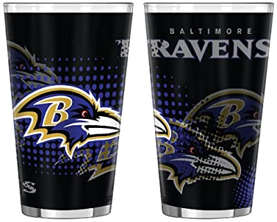 NFL Baltimore Ravens Half Tone Pint Glass, 16-ounce, 2-Pack