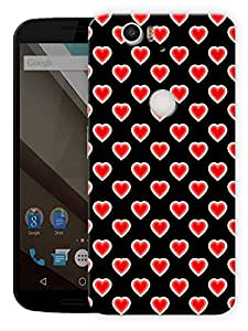 "Hearts With Hearts Pattern Printed Designer Mobile Back Cover For ""Google Nexus 6 Plus"" By Humor Gang (3D, Matte Finish, Premium Quality, Protective Snap On Slim Hard Phone Case, Multi Color)"