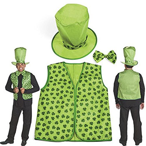 Adult Leprechaun Kit Easy Costume St Patrick Day Leprachaun Irish Vest Hat Tie