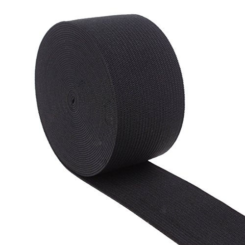 Cotowin 1.5 Inch Wide Black Knit Heavy Stretch High Elasticity Elastic Band 5 Yards