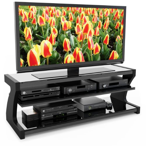 Sonax SN-4600 Sonoma 57-Inch Midnight Black Designer TV Stand with Two Shelves