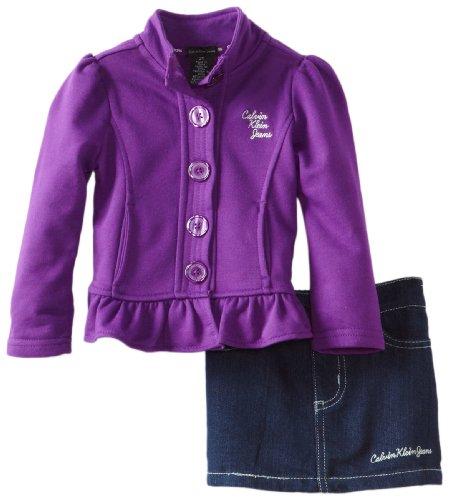 Calvin Klein Little Girls' Jacket With Denim Skirt, Purple, 3T front-727638